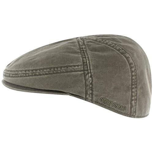 Stetson Paradise Cotton Schirmmütze Oliv-grün Herren - Flatcap mit UV-Schutz 40+ - Herrenmütze aus Baumwolle - Flat Cap Größen M 56-57 cm - Schiebermütze Sommer/Winter