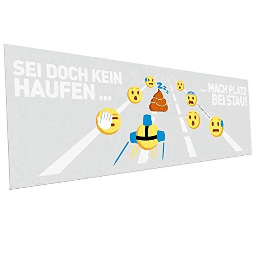 FIRE & FIGHT Streetwear Feuerwehr Rettungsgasse Kackhaufen Emoji Autoaufkleber 29 x 10 cm weiß Schrift