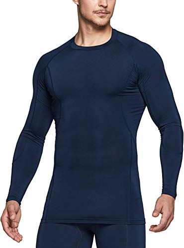 TSLA Men's Cool Dry Fit Long Sleeve Compression Shirts, Athletic Workout Shirt, Active Sports Base Layer T-Shirt, Active(mud31) - Navy, Medium
