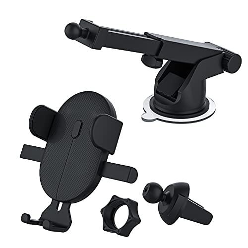 WWMH Soporte Moto Móvil, con Bloqueo Automático Rápida Salida de Aire Anti Vibración con 360° Soporte Universal Antideslizante para iPhone X, 8/7/6s 6 Plus,Samsung Galaxy S9/S8/ S7,Negro