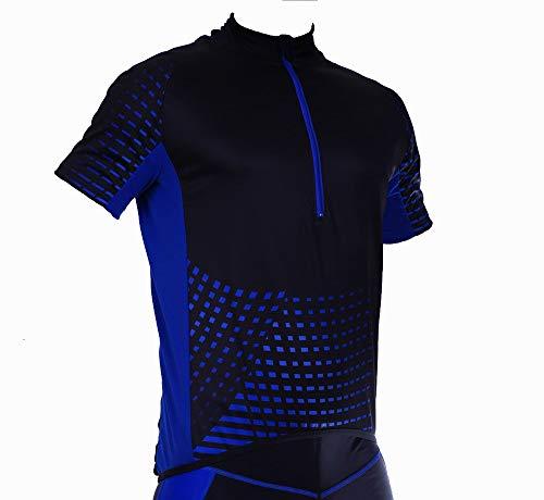 STANTEKS Kurzarm Herren Damen Unisex Radtrikot Fahrradtrikot Fahrradshirt Funktionsshirt Trikot Thermo Shirt Herren Fahrrad Radsport Reflektoren Jersey Bike Schnelltrokend SR0030 (Schwarz-blau, M)