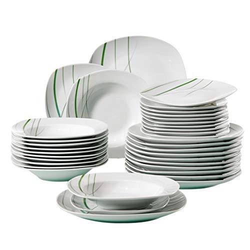 VEWEET, Tafelservice 'Aviva' aus Porzellan 36 teilig | Tellerset für 12 Personen | Mit je 12 Dessertteller, Tiefteller und Flachteller