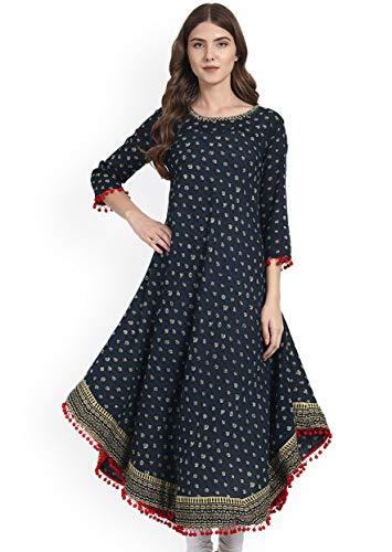 Amayra Women's Cotton Anarkali Kurti (Large, Blue)