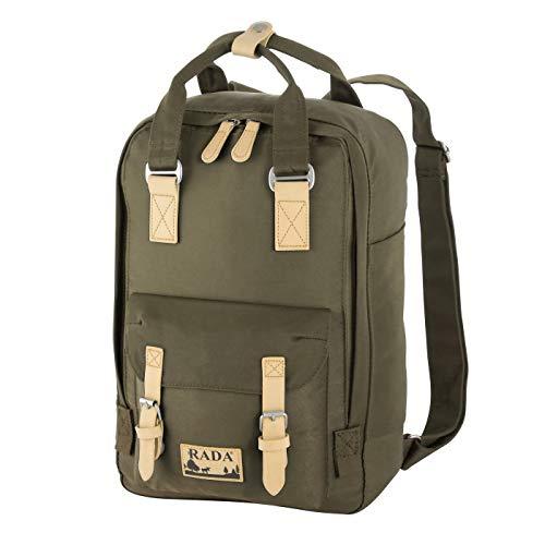 Rada RS/52 Rucksack mit Laptopfach 13 Zoll Notebook für Damen & Herren, moderner Schulrucksack, Daypack für Mädchen und Jungen Outdoor Sport (Army)