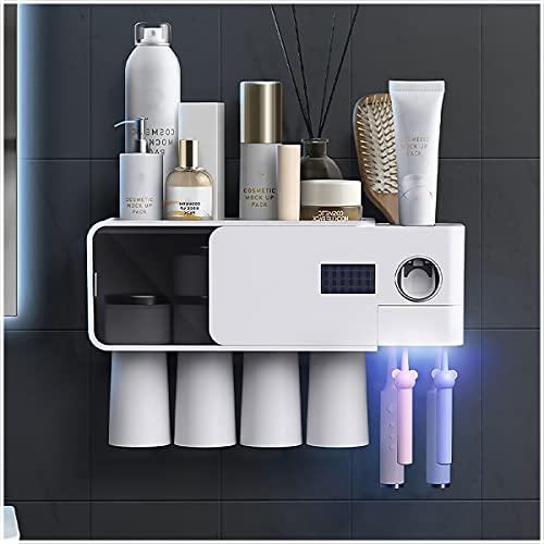 ZYGF Zahnpastaspender, Zahnbürstenhalter 360 ° Reinigung Mit 4 Magnetbechern Und 7 Schlitzen, Zahnbürstenhalter Solar- Und USB-Doppelladung Für Bad Und Waschraum