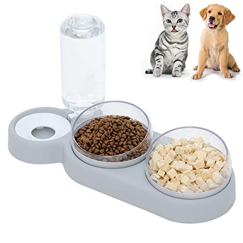 Katzennapf,Doppelnapf für Katzen, 3 in 1 Katzennäpfe,15° Neigung Doppelter Futternapf Reduzieren Sie Nacken Schmerzen,für Doppelte Fressnapf kleine und mittlere katzenklo und Hunde (Grau)