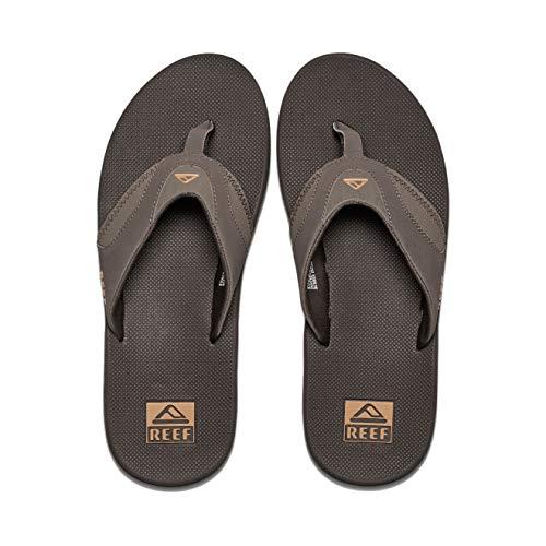Reef Men's Sandals Fanning | Bottle Opener Flip Flops for Men with Arch Support | Brown/Gum | Size 10