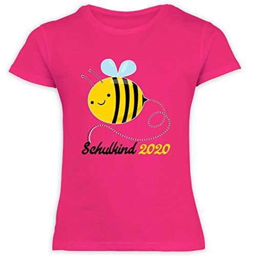 Einschulung und Schulanfang - Biene Schulkind 2020-128 (7/8 Jahre) - Fuchsia - Schulkind 2020 mädchen - F131K Schulanfang - Schulanfang Mädchen T-Shirt Kinder