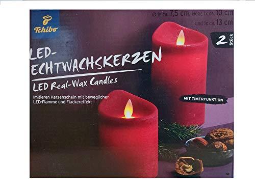 Tchibo TCM 2 LED Echtwachskerzen Kerze mit Flackereffekt & beweglicher Flamme