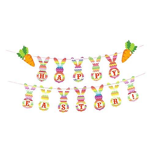 Non-brand Feliz Pascua Lindo Conejito Banner decoración de Pascua Feliz Pascua Guirnalda Floral Banner celebración decoración Feliz Pascua