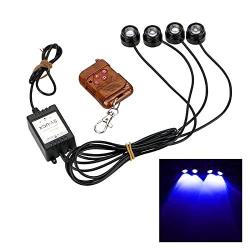 Luces led 4 en 1 LED Flash Light 12V ADVERTENCIA EMERGENCIA Strobe Strobe Eagle Eye Light Wireless Remote Control Diana Luz de funcionamiento para la habitación (Emitting Color : Blue)