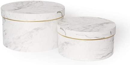 BBC Vintage Marble Flower Arrangement Flowery Hat Paper Box with Lid Set/3 (S/M/L) (White)