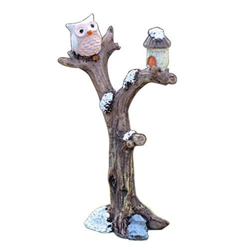 Brussels 08 1 mini branche d'arbre en résine en forme de hibou pour aménagement paysager miniature, décoration de jardin féérique