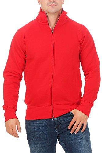Happy Clothing Herren Sweatjacke ohne Kapuze Zip-Jacke Reißverschluss mit Kragen, Größe:M, Farbe:Rot