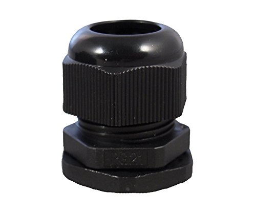 1/2' NPT Black Nylon Cable Glands wIth Gasket and Lock-Nut 50 Pack