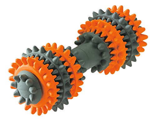 HUNTER TOOTH CLEANER Hundespielzeug, interaktiv, Zahnreinigung, Vollgummi, 13 cm, orange/grau