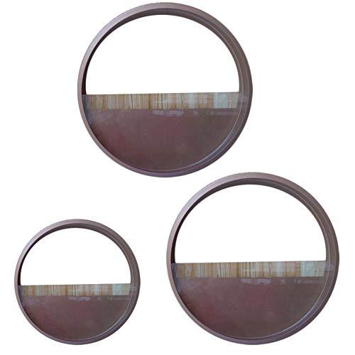 Wenyun - Macetero para colgar en la pared, diseño redondo, hierro y metal, color marrón