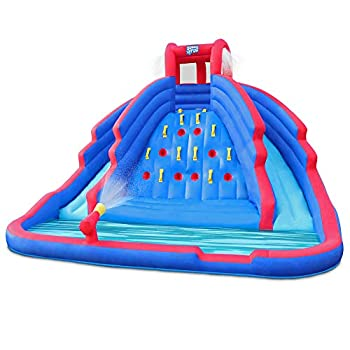 Deluxe Inflatable Water Slide Park – Heavy-Duty Nylon Bouncy Station for Outdoor Fun - Climbing Wall Two Slides & Splash Pool – Easy to Set Up & Inflate with Included Air Pump & Carrying Case