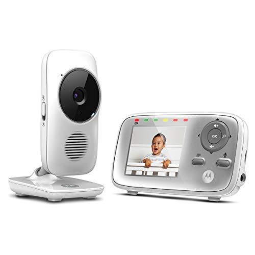 Motorola Baby MBP483 - Monitor de vídeo para bebés de 2,8' con zoom digital, audio bidireccional y visualización de la temperatura ambiente , Blanco
