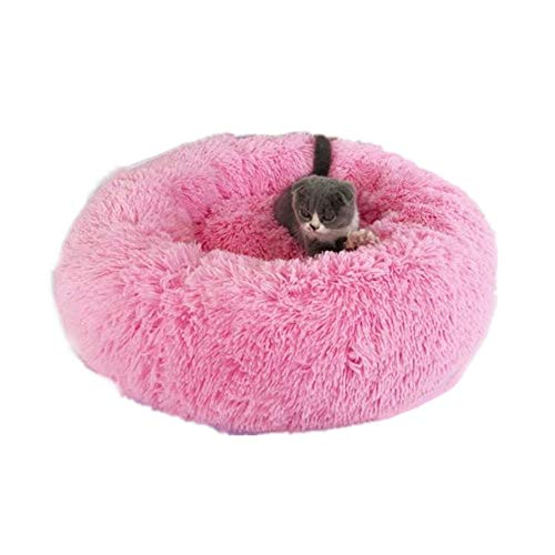 Paris Hill Pet Bed Creative Round Warm Soft Fluffy Plush Pet Sleeping Bed Cat Bed Washable Pillow Cushion Light Pink-M(60cm)
