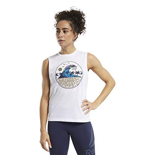Reebok RC Tidal Wave Muscle Camiseta, Mujer, Blanco, M
