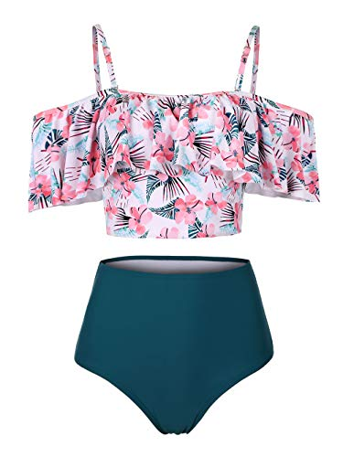 Kaei&Shi Strapless,Strappy Swimwear,Floral High Waisted Flounce Bikini Set,Tummy Control Swimsuits for Women,Off Shoulder Bathing Suit Dark Green Small