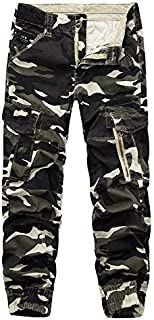 Men's Multi Pockets Casual Work Camouflage Combat Trousers Army Hiking Cotton Cargo Long Pants