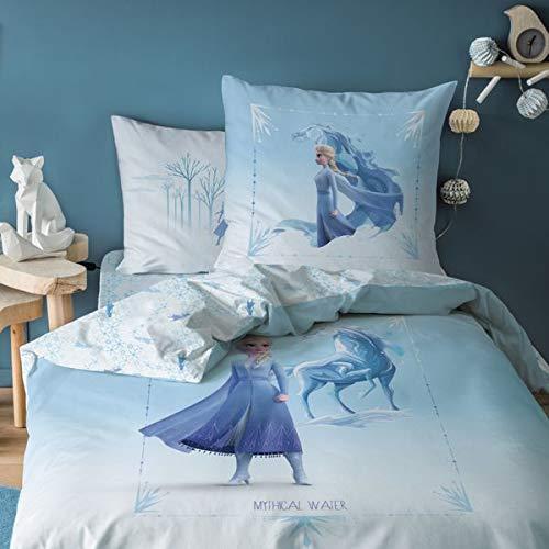 Frozen - Juego de Funda nórdica de 140 x 200 cm y Funda de Almohada de 63 x 63 cm, 100% algodón Mythical Water