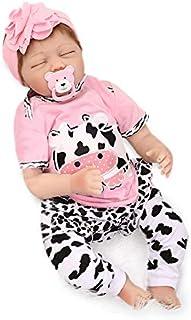 Nicery Reborn Baby Doll Renacer Bebé la Muñeca Vinil Simulación Silicona Suave 22 Pulgadas 55cm Boca Magnética Natural Niña Niño Juguete vívido para 3 años + De Color Rosa de la Vaca lechera Blanco