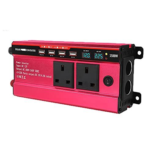 FDQNDXF Inversor de Onda Sinusoidal Modificada 1500W Inversor de Coche de Potencia Máxima DC 12V / 24V a AC 220V Convertidor de Voltaje con 4 Puertos USB, para Camión RV