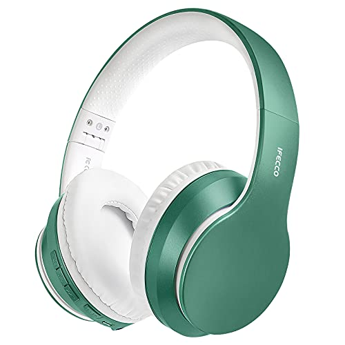 Cascos Inalambricos Bluetooth, Auriculares Diadema Estéreo Inalámbricos Plegables, Micrófono Incorporado, Cascos Bluetooth Inalámbrico y Audio Cable para PC/ MP3/Móviles/TV(Jade Verde)