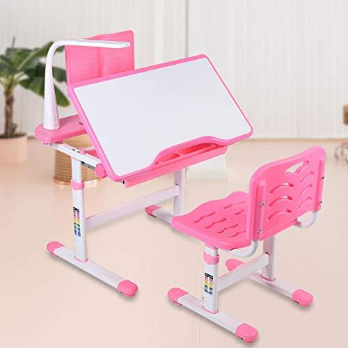 EBTOOLS Kinderschreibtisch,Höhenverstellbarer Jugendschreibtisch Kinderschreibtisch und -Stuhl Set mit Leseständer und Augenschutzlampe Kindertisch Bürotisch für Kinder 3-12 Jahre,Rosa