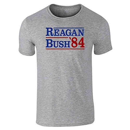 Pop Threads Ronald Reagan George Bush 1984 Campaign Gray L Graphic Tee T-Shirt for Men