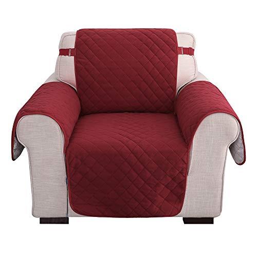 Amazon Brand - Umi Samt Sofabezug SofaüberwurfCouchhusse Sesselbezug Überzug Modern Wohnzimmer Rot 1-Sitzer