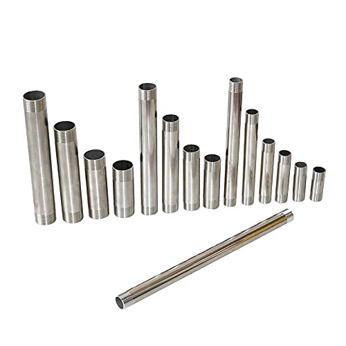 Accesorios de tuberia BSP 1/2 '3/4' 1 ' Conector de tubería de acero inoxidable de acero inoxidable de acero inoxidable 304 MALEXMALE 5/6/8/10 / 15/120 / 30cm Adaptador de barra de ducha El plastico