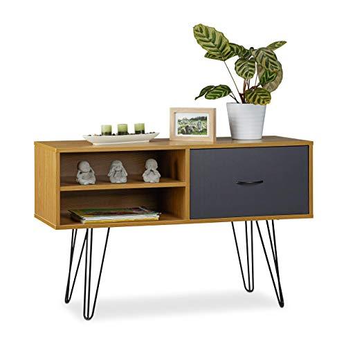 Relaxdays Sideboard Retro Design, lade, metalen poten, consoletafel, dressoir, vintage, h x b x d: 62 x 100 x 38 cm, meerkleurig