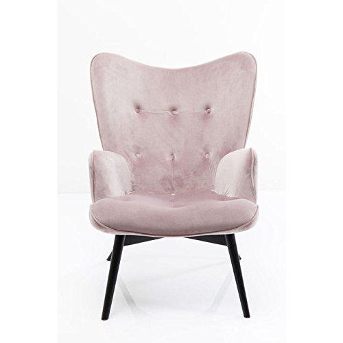 KARE Design Sessel Vicky 82610 mit Armlehnen, Ohrensessel mit Samt Bezug, Polstersessel in Rosa, Pflegeleichte Oberfläche, Füße aus...