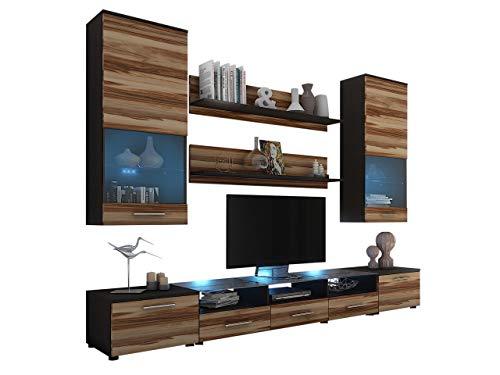 Wohnwand Cama II, Anbauwand, 2X TV Lowboard, Vitrine, Wandregal, Mediawand, Modernes Wohnzimmer Set (Wenge/Nuss Baltimore, mit weißer LED Beleuchtung)