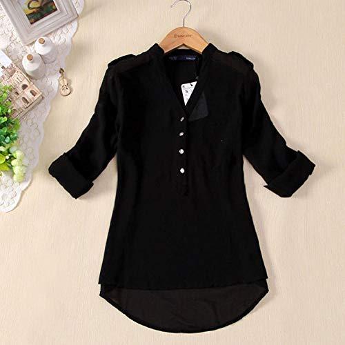 N\A Camisa Casual de Manga Larga de Gasa con Cuello en V para Mujer Blusa Primavera Verano Camisa Formal de Color sólido Blusa Inferior de cárdigan para Mujer-Black_S