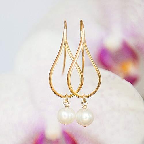Gold earrings with Pearls, Dangly earrings, Teardrop earrings, Modern jewelry, Pearl earrings, Greek jewelry, Minimalist earrings