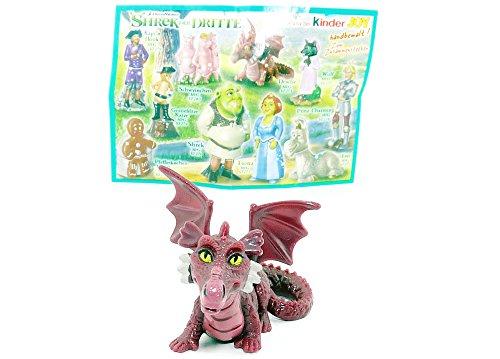 Kinder Überraschung Fandom der Drache aus dem Film Shrek der Dritte. Handbemalt Figur aus dem Ü-Ei von Ferrero mit Zettel