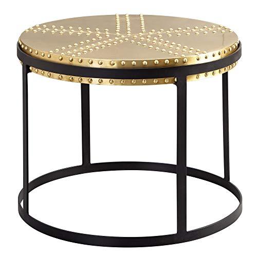 Wohnling Mesa de centro de metal 58 x 45 x 58 cm, dorado/negro, estilo industrial redondo, diseño de mesa de salón con remaches, moderna mesa de salón