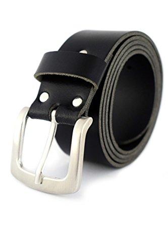 GREEN YARD Gürtel Herren für Jeans Ledergürtel aus echtem Leder 4 cm breit, Schwarz, 105 cm Bundweite = 120 cm Gesamtlänge