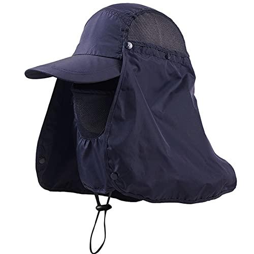Protector Solar Cuello Cubierta Sombrero QSXX Gorra de Protección Solar UV Anti-UV Protección Solar Sombrero 360°Protección Solar Sombrero para Senderismo, Ciclismo, Pesca, para Hombres Mujeres