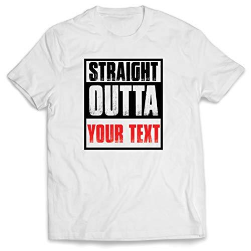 lepni.me Camisetas Hombre Directamente de su Propio Texto Personalizado Eslogan (Large Blanco Multicolor)