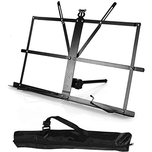 Sheet Music Stand, Tabletop Desktop Book Stand Folding Portable Lightweight Adjustable Travel Metal Music Holder with Carrying Bag, by Vangoa