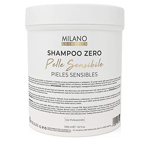 Milano Champú Zero Pieles Sensibles 1000 ml Sin parabenos, sin sulfatos, sin minerales ni sales, sin siliconas. Shampoo para pelo cabello, natural sensitive, profesional cero %