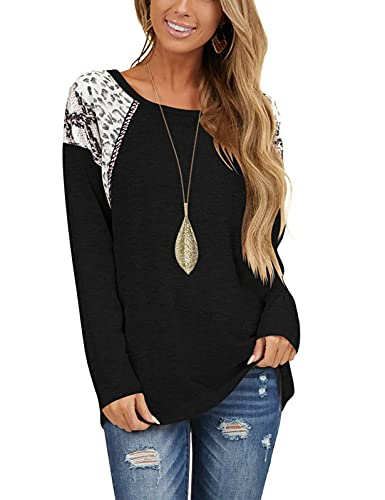 Oustdoze Womens Long Sleeve Tops Leopard Print Round Neck Color Block Tunic Shirts Casual Loose Blouses Black