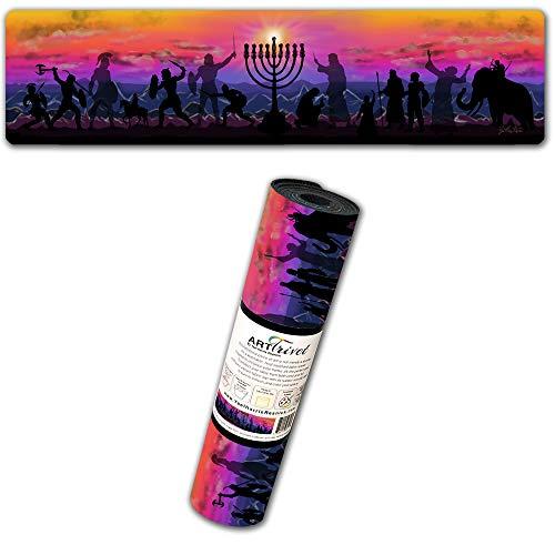 Hanukkah Lights ArtTrivet heat-resistant table runner and trivet - fabric top and non-slip rubber base