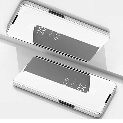 BeyondTop Spiegel Hülle für Oppo Reno4 5G Mirror Schutzhülle Flip Hülle Tasche Cover Handyhülle für Oppo Reno4 5G(Silber)